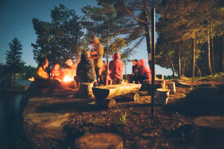 Ognisko nad jeziorem blisko lasu. Ludzie siedzący na drewnianych pniach. Biesiada
