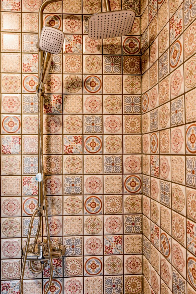 Pasieka Smakulskich - noclegi - zdjęcia wnętrz (Apartament Prowansalski - parter) - zdjęcie prysznica i mozaiki