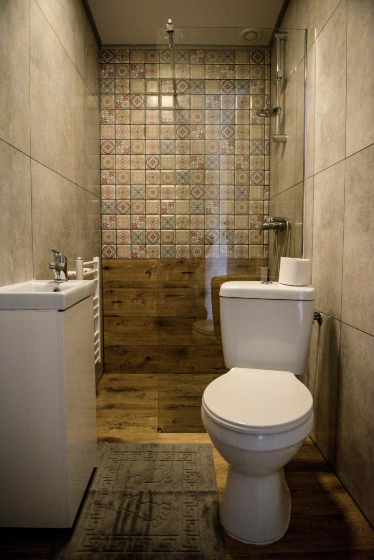 Pasieka Smakulskich - noclegi - zdjęcia wnętrz (Apartament Prowansalski - parter) - Toaleta, szafka, prysznic, muszla