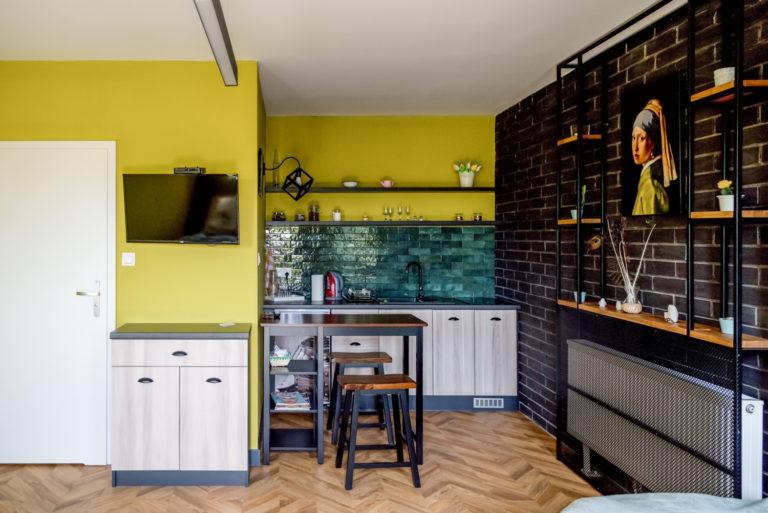 Pasieka Smakulskich - noclegi - zdjęcia wnętrz (Apartament Retro - parter) - aneks kuchenny i stolik kuchenny z dwoma krzesłami, półeczki, kwiaty, telewizor