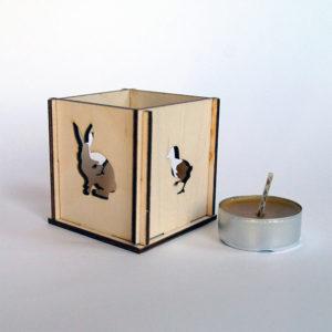 Produkt: Wiosenny świecznik / drewniany lampion - sklep pasiekasmakulskich.pl