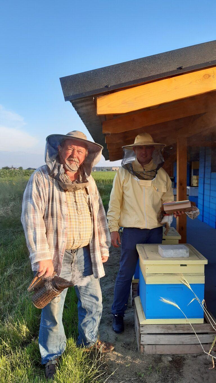 Pszczelarze pozują do zdjęcia przy pasiece