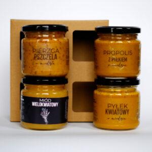 Miodowy zestaw dla dziadków: Miód wielokwiatowy, Pyłek pszczeli w miodzie, Propolis i pyłek pszczeli w miodzie, Pierzga w miodzie
